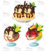 وکتور بستنی میوه ای و شکلاتی