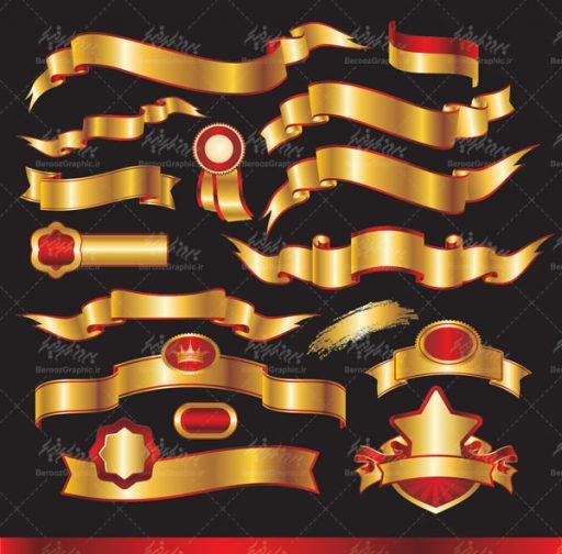 وکتور روبان طلایی و قرمز