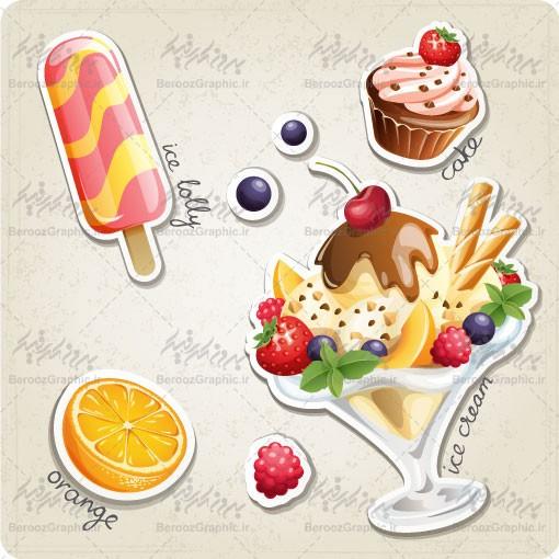 وکتور بستنی میوه ای