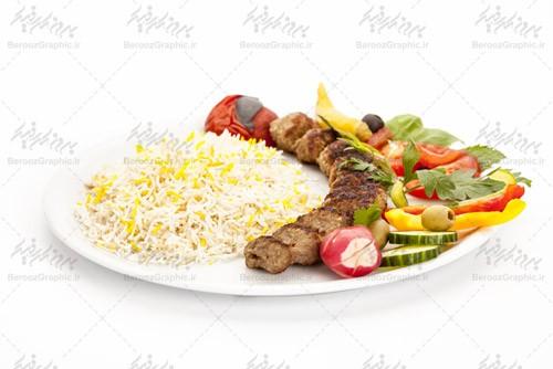 تصویر با کیفیت کباب کوبیده و برنج