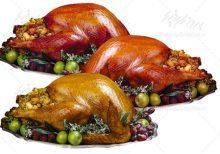 تصویر باکیفیت چلو مرغ مرغ سرخ شده